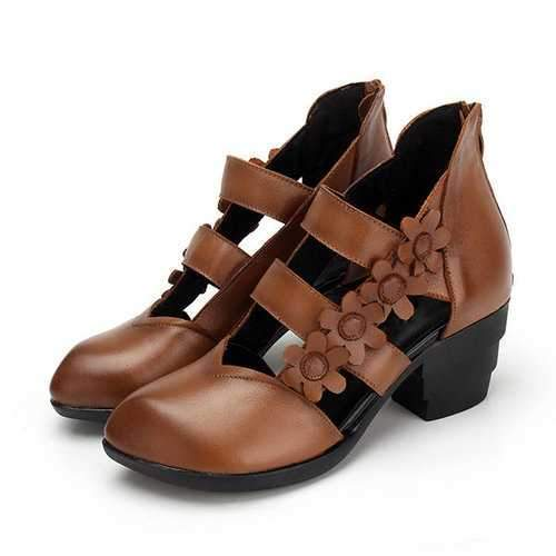 SOCOFY Retro Leather Sandals