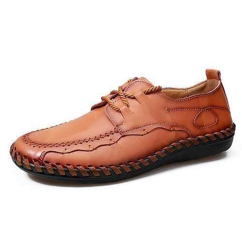 Men Soft Cow Leather Hand Stitching Lace Up Casual Shoes
