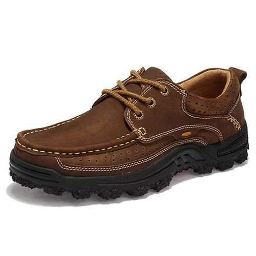 Men Cow Leather Slip Resistant Wear-resistant Casual Shoes