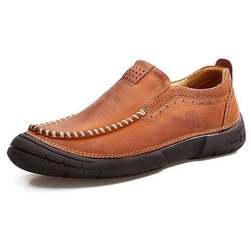 Men Cow Leather Wear-resistant Sole Casual Shoes