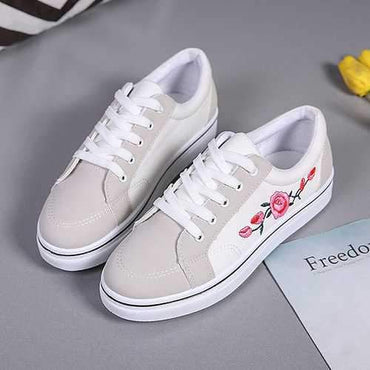 Flower Casual Lace Up White Shoes