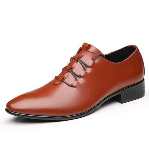 Men Microfiber Leather Pointed Toe Lace Up Business Shoes