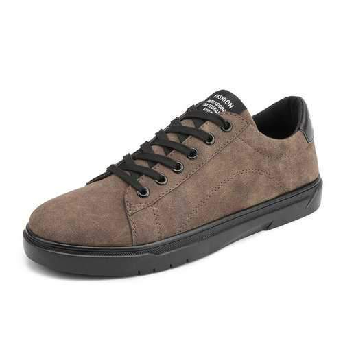 Men Leather Low-top Slip Resistant Lace Up Casual Shoes