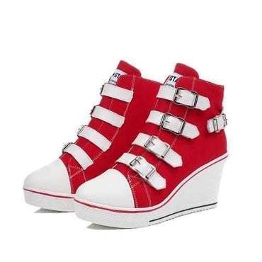 Wedge Heel Buckle Canvas Shoes