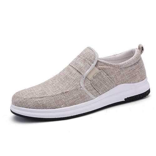 Men Linen Breathable Flat Casual Shoes