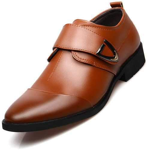 Men Cap Toe Hook Loop Dress Shoes