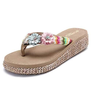 Flower Platform Beach Slippers