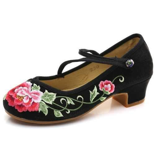 Block Flower Chinese Button Shoes