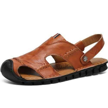 Men Genuine Leather Anti-collision Sandals