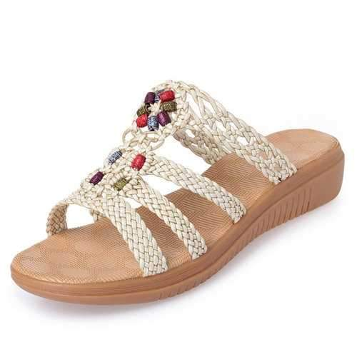 Beaded Woven Sandals