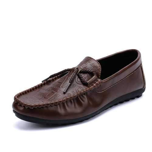 Men Leather Hand Stitching Loafers