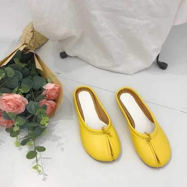 Casual Round Toe Backless Flats Slippers