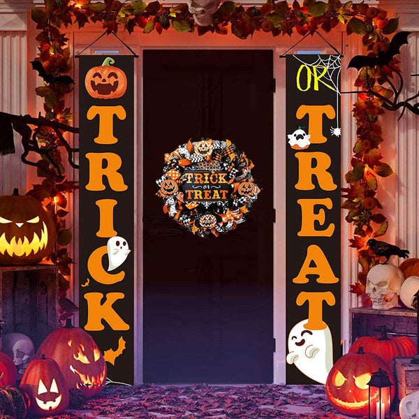 Halloween Banner Set Outdoor Signs Garden Front Door Hanging Decor Halloween Decorations