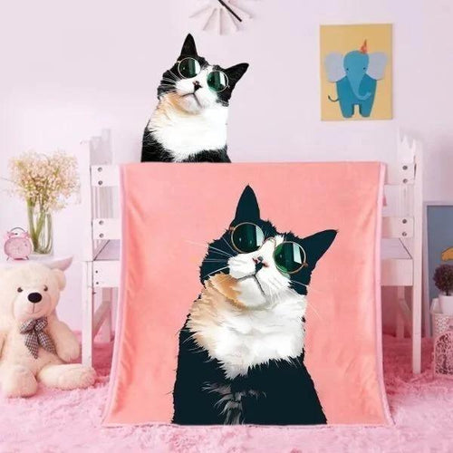 Custom Blankets Personalized Pet Photo Blankets Painted Art Portrait Fleece Blanket-Cat