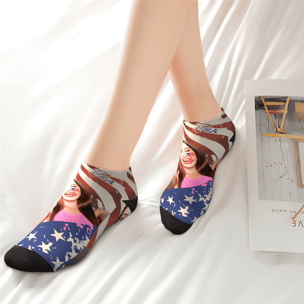 Custom Face National Flag Ankle Socks