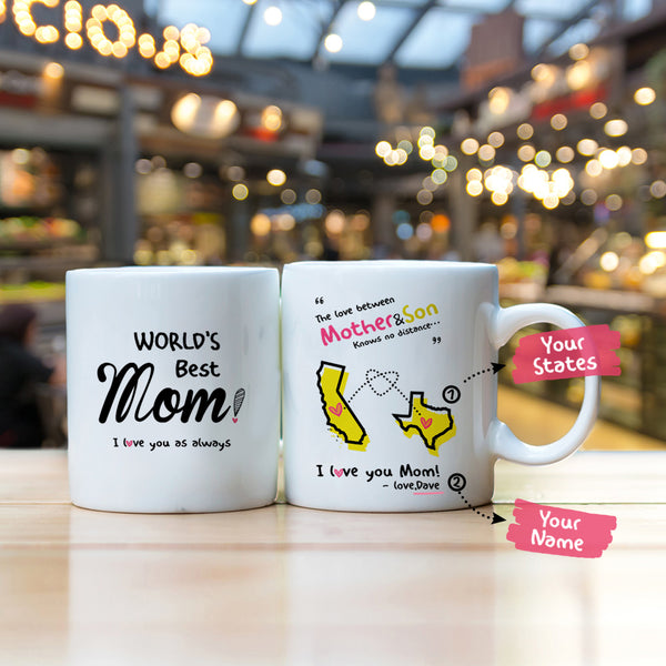 Personalized the love between a mother and son knows no distance mug