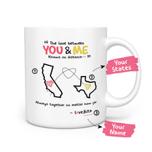 Personalized the love between you and me knows no distance mug