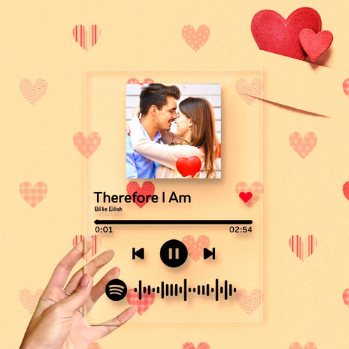 Valentine's Gift Spotify Glass Scannable Spotify Code Custom Music Song Plaque Frame(4.7INX6.3IN)