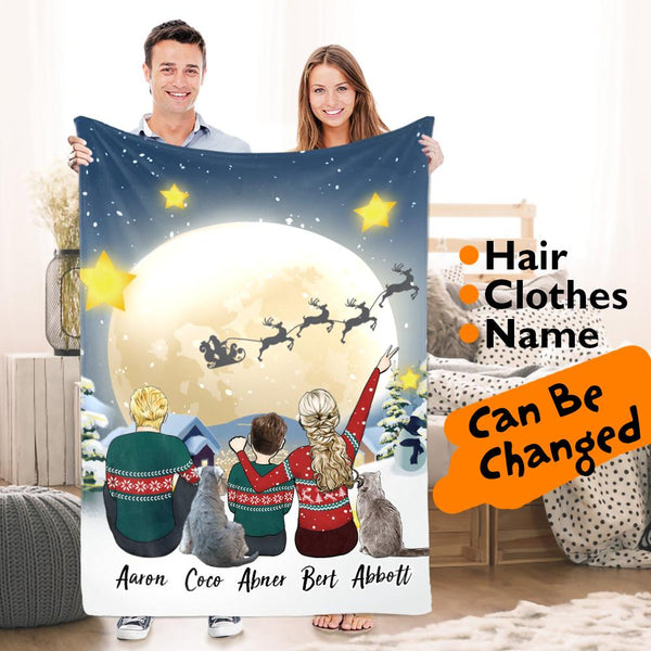 Custom Blanket Cartoon Character Christmas Snow Scene Cartoon Family Portraits Fleece Blanket Christmas Gift For Him