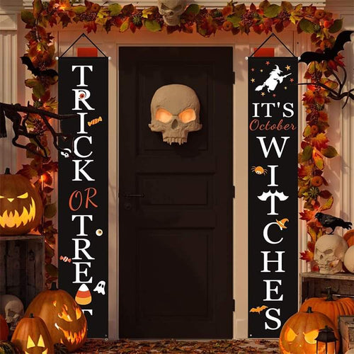 Halloween Decorations Outdoor Signs Garden Front Door Hanging Decor Halloween Banner Set