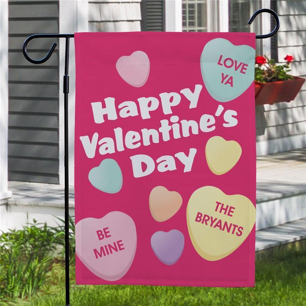 Custom Candy Hearts Valentine's Day Garden Flag
