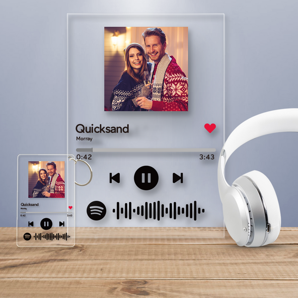 Spotify Glass Custom Scannable Spotify Code Music Plaque Frame And Get A Free Keychain(4.7IN X 7.1IN/2.1IN X 3.4IN)
