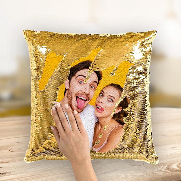 Custom Love Couple Photo Magic Sequins Pillow Multicolor Shiny 15.75*15.75