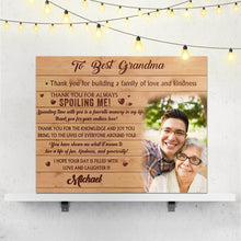 Custom Photo Tapestry Wall Decor Painting Canvas With Text - To Best Grandma