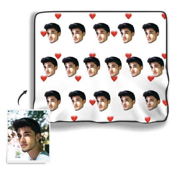 Red Heart Personalized Fleece Face Blanket - White