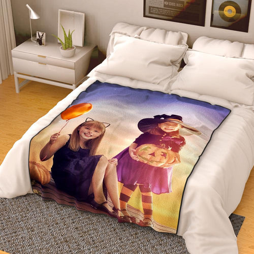 Halloween Gifts Personalized Photo Blanket Fleece - Famliy