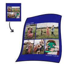 Christmas Gift Personalized Photo Blanket Fleece with Text - 5 Photos