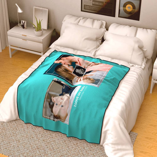 Personalized Famliy Photo Fleece Blanket with Text - 2 Photos