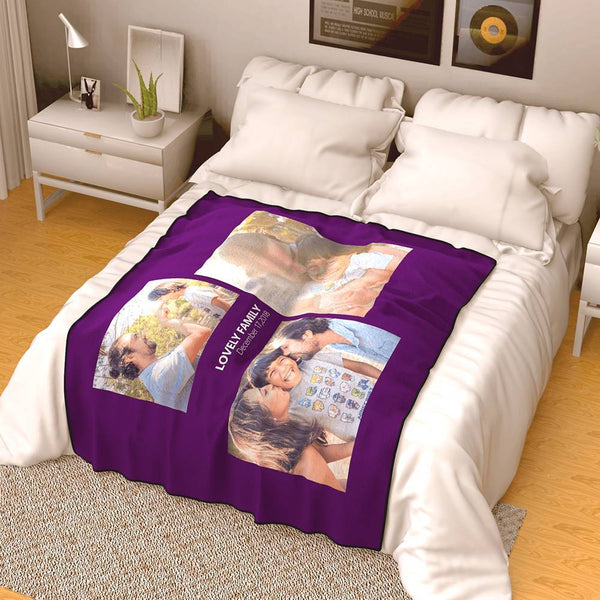 Personalized Family Photo Fleece Blanket with Text - 3 Photos