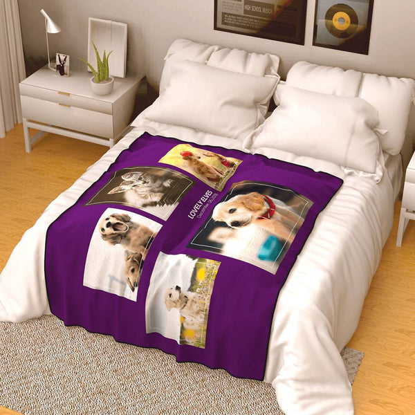 Personalized Famliy Photo Fleece Blanket with Text - 5 Photos