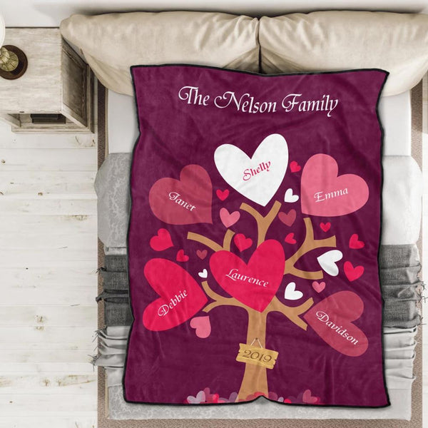 Personalized 3 Names Blanket - Fleece Blanket Love Family Tree