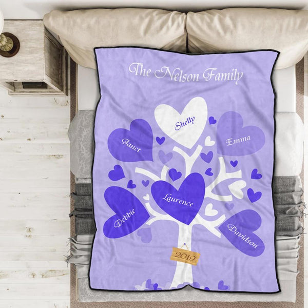 Personalized 5 Names Blanket - Fleece Blanket Love Family Tree
