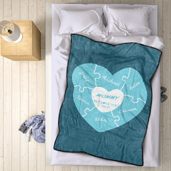 Personalized 6 Names Blanket - Fleece Blanket Love You to Pieces