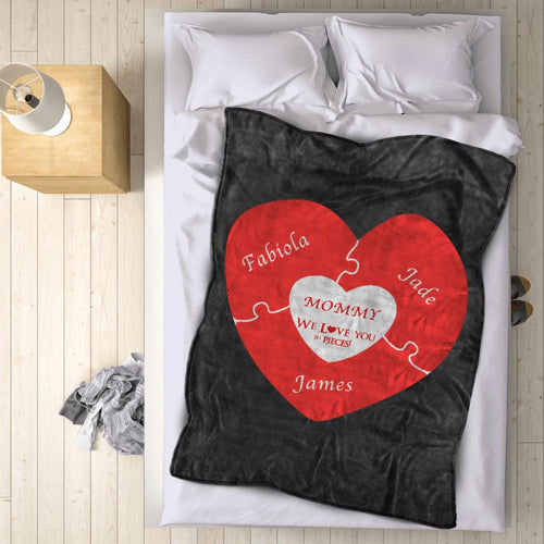 Personalized 3 Names Blanket - Fleece Blanket Love You to Pieces