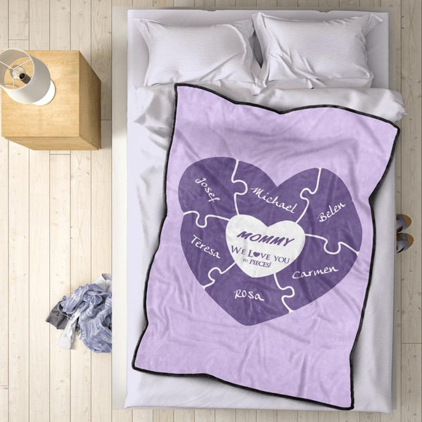 Personalized 5 Names Blanket - Fleece Blanket Love You to Pieces