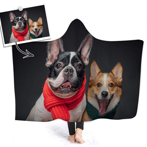 Custom Soft Pet Photo Hooded Blanket Air Conditioning Blanket Wrap with Soft Flannel