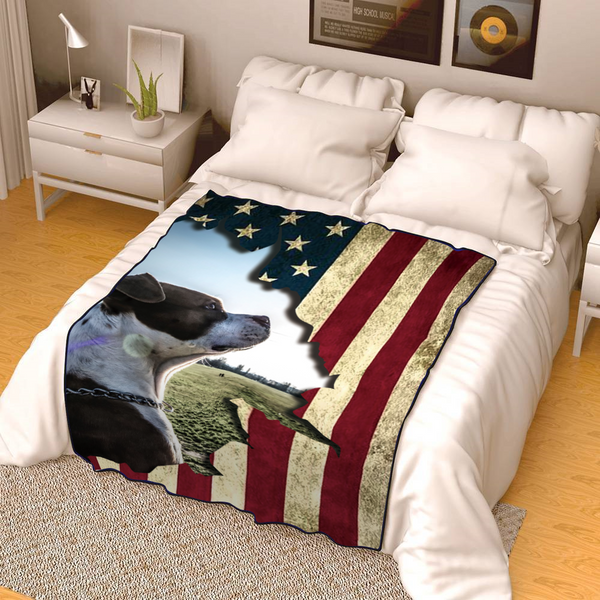 Independence Day Blanket Personalised Pet Photo Blanket Retro Blanket