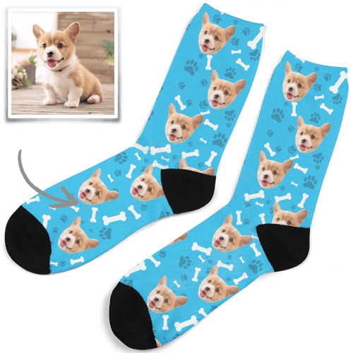 Father's Day Gifts -  Photo Socks, Custom Dog Face Socks