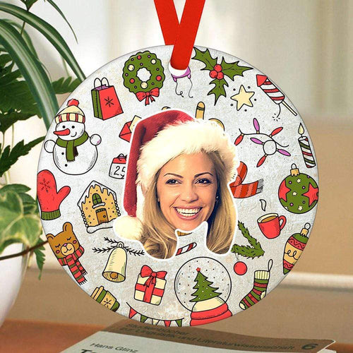 Custom Photo Ornaments Round Christmas Gifts For Her
