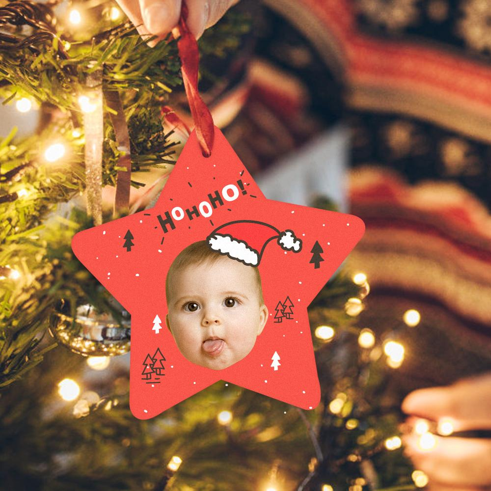 Custom Photo Ornament Star-Shaped For Christmas Cute Baby