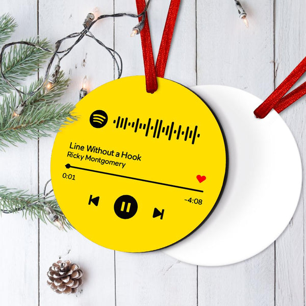 Engraved Custom Scannable Spotify Code Hanging Ornament Personalized Music Song Ornaments Yellow