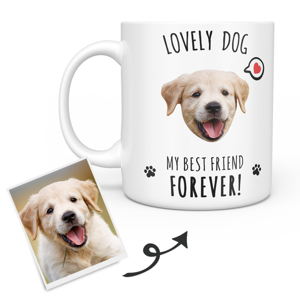 Personalized Dog Mug - Custom Pet Mug - Puppy Face - Best Friend Forever
