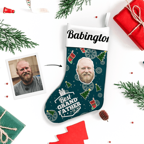 Custom Face Christmas Stocking Best Grandfather With Text