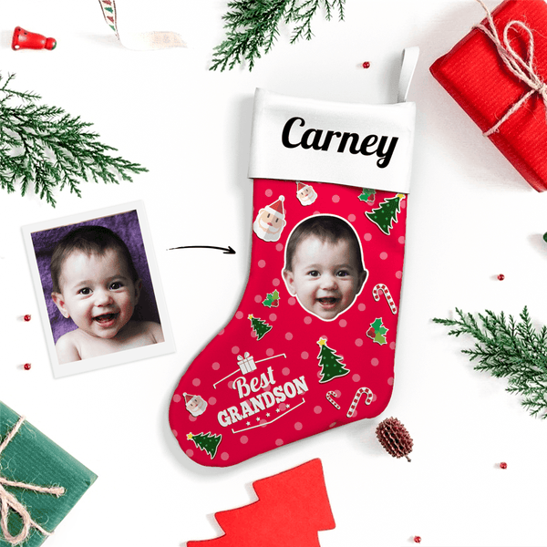 Custom Face Christmas Stocking Best Grandson With Text