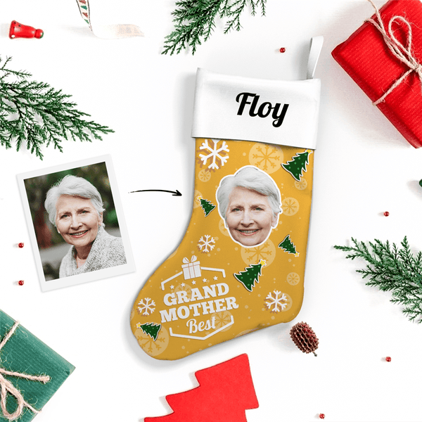 Custom Face Christmas Stocking Best Grandmother With Text
