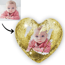 Custom Love Heart Photo Magic Sequin Pillow
